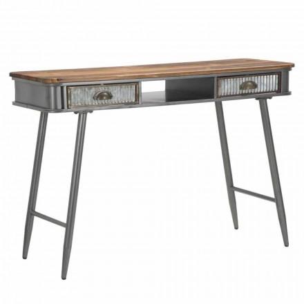 Prostokątna konsola z żelaza i drewna Industrial Design - Ermo