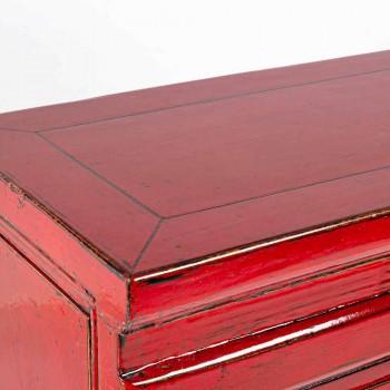 Czerwona konsola z drewna wiązu z 3 szufladami Design Homemotion - Sonten