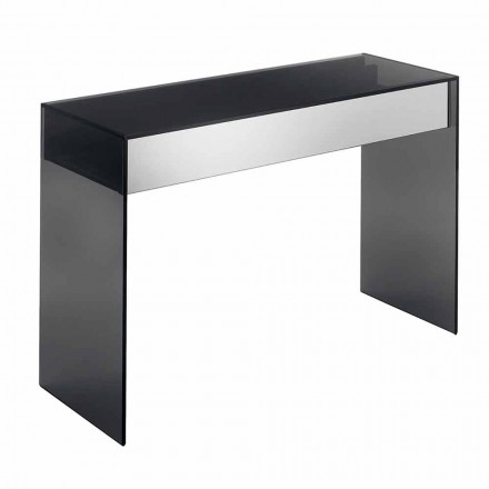 Design Consolle Desk w Smokey Glass z szufladami Made in Italy - Mantra