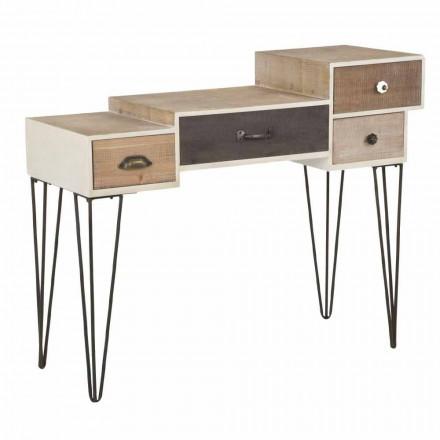 Konsola z szufladami w nowoczesnym stylu industrialnym z drewna i metalu - Lille