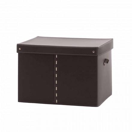 Nowoczesne pudełko do przechowywania ze skóry regenerowanej Made in Italy - Gabry