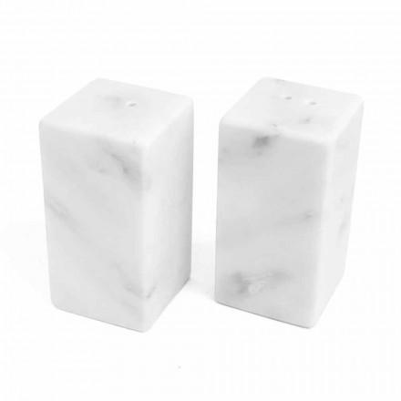 Pojemniki na sól i pieprz z białego marmuru z Carrary Wyprodukowano we Włoszech - Julio