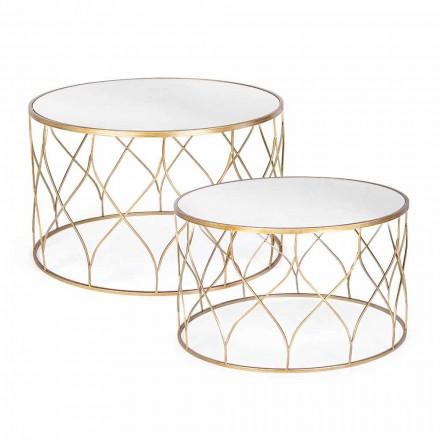 Para okrągłych stolików ze szkła i stali Homemotion - Amarillide