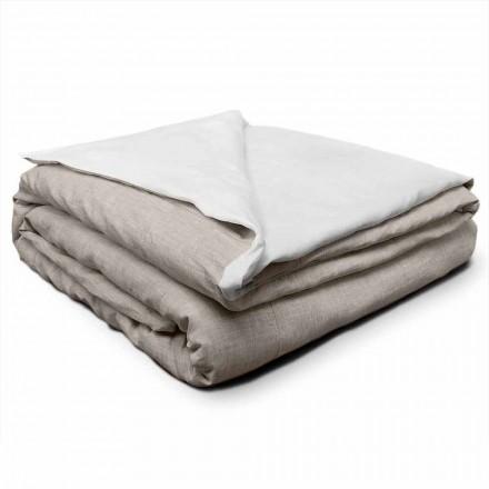Podwójna lniana poszwa na kołdrę w kolorze kremowo-białym i naturalnym Made in Italy - Blessy