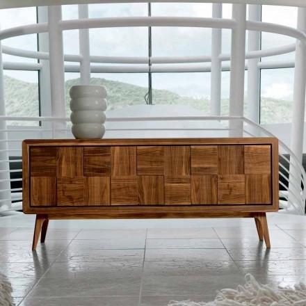 Kredens Nensi z 3 drzwiami z nowoczesnego drewna litego drewna orzechowego