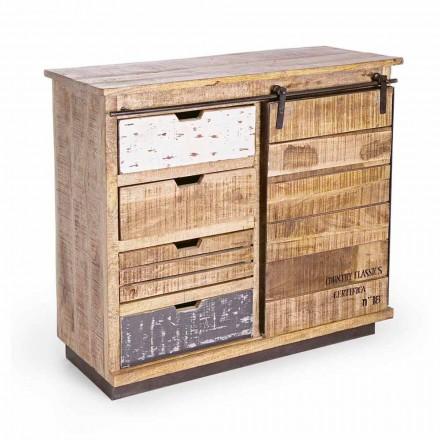 Kredens z drewna i stali z drzwiami i 4 szufladami w stylu industrialnym - Renza