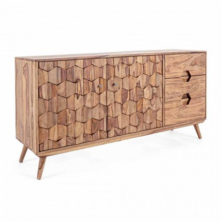 Kredens z naturalnego drewna z drzwiami i szufladami Homemotion - Ventador