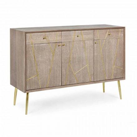Kredens z drewna tekowego ze stalowymi wstawkami w stylu vintage - Mayra