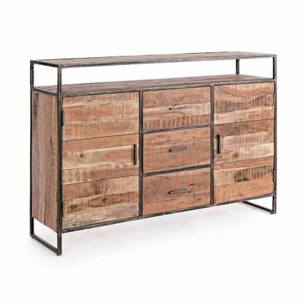Nowoczesny kredens o konstrukcji z drewna akacjowego i stali Homemotion - Posta