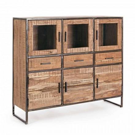 Kredens w stylu industrialnym z drewna akacjowego i stali Homemotion - Zompo