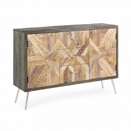 Kredens w stylu vintage z drewnianą konstrukcją i stalowymi detalami - Adiva