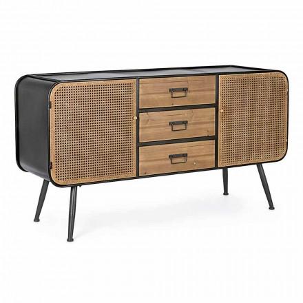Kredens Vintage z drzwiami i szufladami z efektem rattanu z drewna jodłowego - Freddy