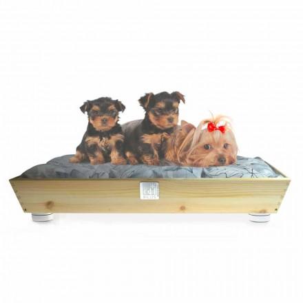 Hodowla psów i kotów z litego drewna z uchwytami i poduszką Made in Italy - Lyn