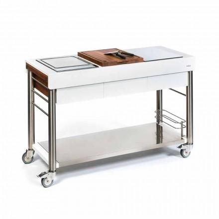 Kuchnia zewnętrzna na kółkach designu, wysokiej jakości w drewnie i stali - Calliope