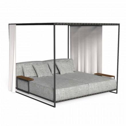 Luksusowy leżak ogrodowy z drewna i tkaniny - Casilda by Talenti