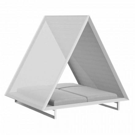 Zewnętrzne łóżko dzienne z aluminium i luksusowej tkaniny designerskiej - Frame Vineyard firmy Vondom