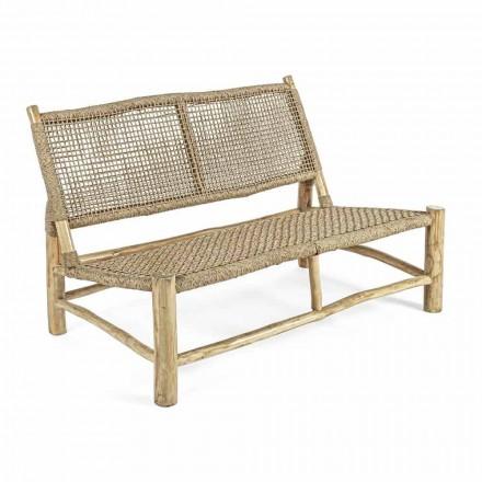 Dwuosobowa sofa ogrodowa z gałęzi tekowej i włókna syntetycznego - Tecno