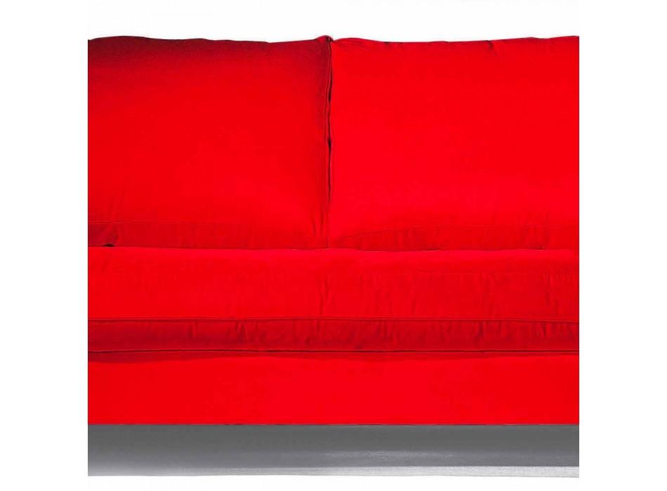 2-osobowa sofa bawełniana z bocznymi kostkami z płyty Mdf Made in Italy - Damaszek