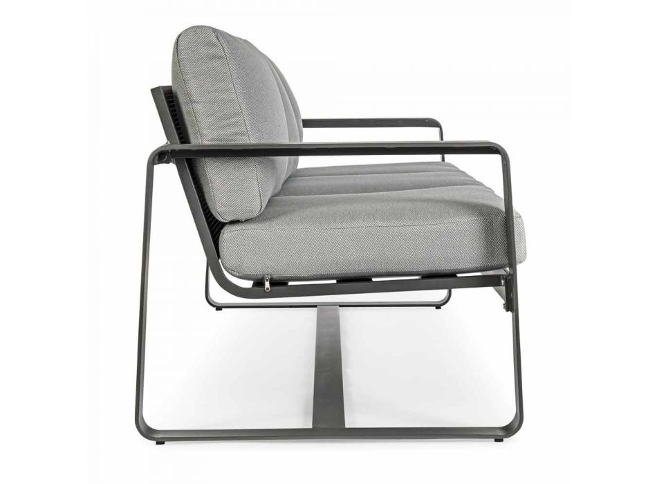 3-osobowa sofa zewnętrzna z poduszkami oparcia i siedziskiem z tkaniny - Mirea