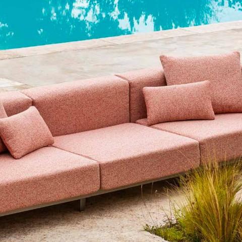 Aluminiowa 3-osobowa sofa zewnętrzna z przedłużeniem i szezlongiem - Filomena