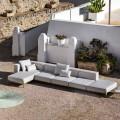 Aluminiowa 3-osobowa sofa zewnętrzna z pufą i szezlongiem - Filomena