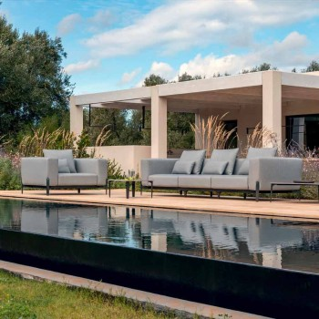 3-osobowa sofa zewnętrzna z designerskiego aluminium i tkaniny w 3 wykończeniach - Filomena