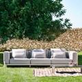3-osobowa sofa zewnętrzna z aluminium i wysokiej jakości tkaniny - Filomena