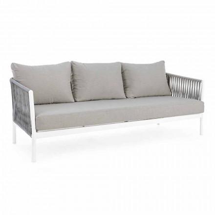 Homemotion - 3-osobowa sofa zewnętrzna Rubio w kolorze białym i szarym