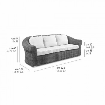 3-osobowa sofa zewnętrzna z syntetycznego rattanu i tkaniny w kolorze białym lub ecru - Yves