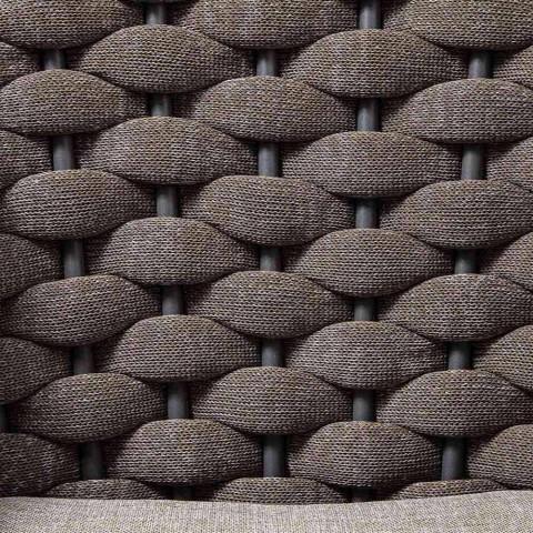 3-osobowa sofa ogrodowa z aluminium i sznurkiem z poduszkami z tkaniny - Rasti