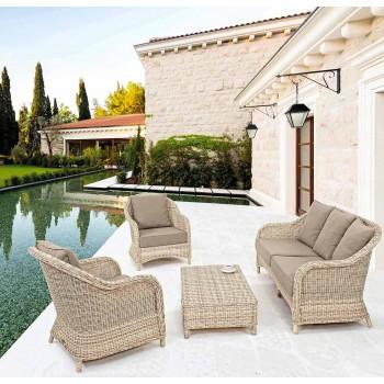 3-osobowa sofa ogrodowa w plecionce z włókna szklanego Homemotion - Casimiro
