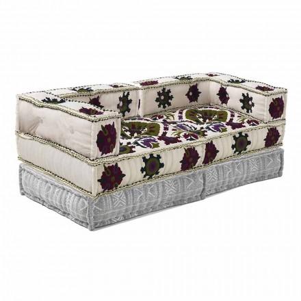 Dwuosobowa sofa w etnicznym stylu z patchworku - włókno