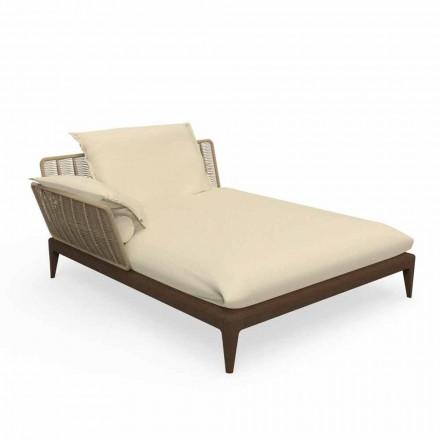 Sofa szezlongowa z drewna tekowego i tkaniny - Cruise Teak marki Talenti