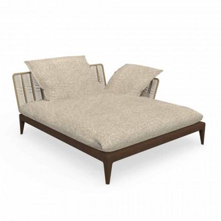 Sofa ogrodowa z szezlongiem w teaku i tkaninie - Cruise Teak od Talenti