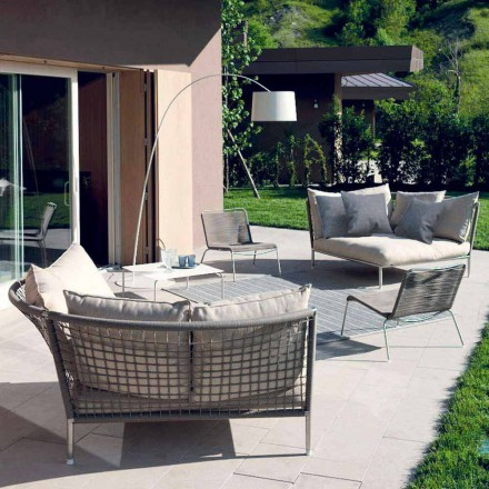 Okrągła tkanina na sofę ogrodową w kolorze gołębiej szarości Made in Italy Design - Ontario4