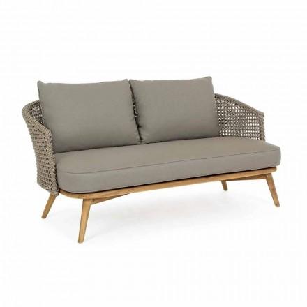 Sofa zewnętrzna 2 lub 3 siedziska z drewna i tkaniny w kolorze gołębiej szarości - Luana