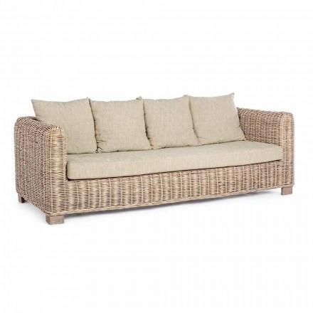 Homemotion - 3-osobowa sofa ogrodowa z drewna i rattanu Ceara