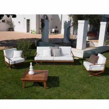 3-osobowa sofa zewnętrzna z naturalnego drewna lub czarnej i luksusowej tkaniny - Suzana