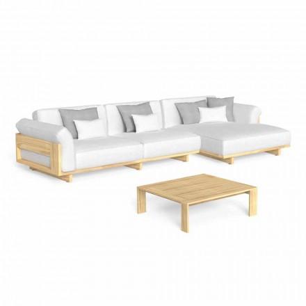 Salon na świeżym powietrzu z luksusową drewnianą sofą i stolikiem kawowym - Argo firmy Talenti