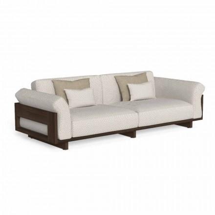Sofa zewnętrzna tapicerowana tkaniną i szlachetnym drewnem Accoya - Argo od Talenti