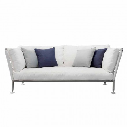 Sofa zewnętrzna w białych poduszkach ze stali i plecionego PCV - Ontario6