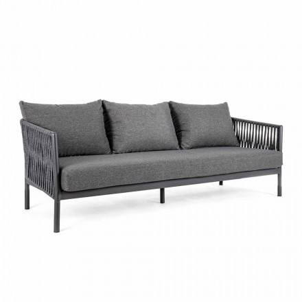 Sofa zewnętrzna z aluminium i sznurkiem z poduszkami z tkaniny, Homemotion - Shama