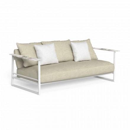 Sofa zewnętrzna z aluminium, tkaniny i podłokietników w kolorze Gres - Riviera od Talenti