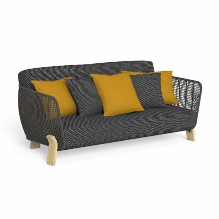Sofa zewnętrzna z tkaniny i wysokiej jakości tapicerowanej liny - Argo od Talenti