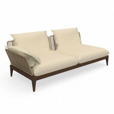 Modułowa prawa sofa na zewnątrz z drewna tekowego i tkaniny - teak Cruise firmy Talenti