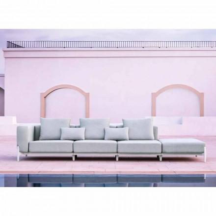 3-osobowa sofa ogrodowa z luksusową pufą z aluminium i tkaniny - Filomena
