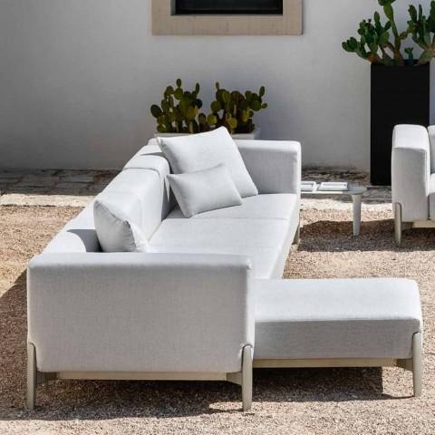 3-osobowa sofa ogrodowa z szezlongiem z aluminium i tkaniny - Filomena