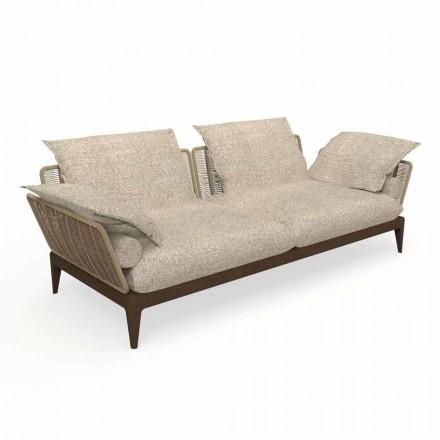 Nowoczesna sofa ogrodowa z drewna tekowego i tkaniny - Cruise Teak marki Talenti