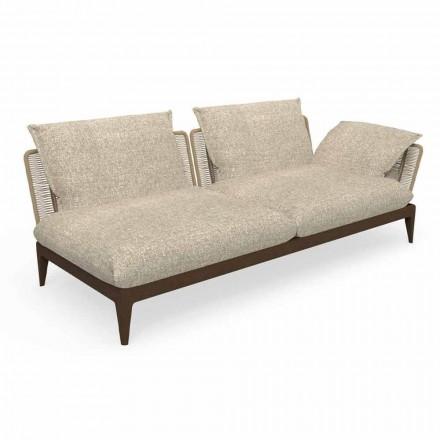 Modułowa rozkładana sofa ogrodowa z drewna tekowego i tkaniny - teak Cruise firmy Talenti