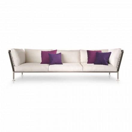 Nowoczesna sofa na zewnątrz wykonana z białej tkaniny Made in Italy - Ontario
